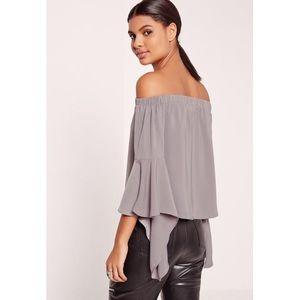 Missguided Flare Sleeve Bardot Blouse— Grey